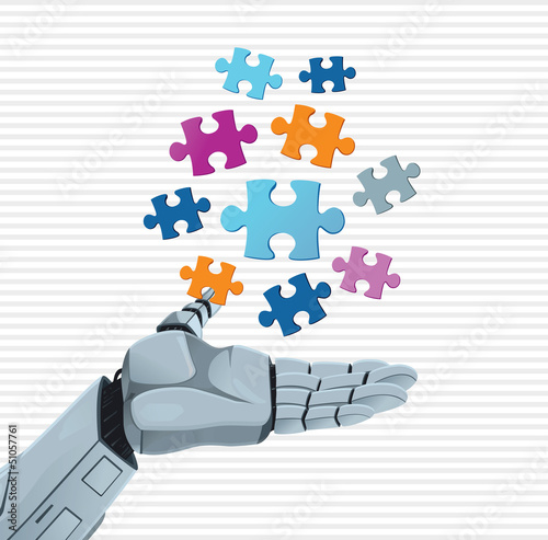 Robot hand and puzzle