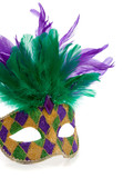 A Multi-colored Mardi gras mask on a white background