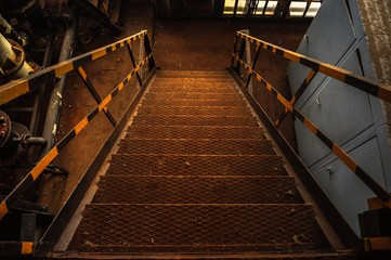 Industrial staircase in rusty colors