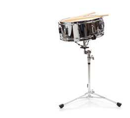 A snare drum on a white background