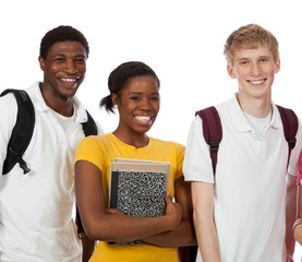 Multi-ethnic college students/friends with backpacks and books