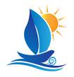 Boat leaf and sun creative logo vector