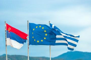 Flag of greece and flag of the EU