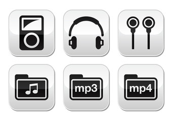 Mp3 player vector buttons set