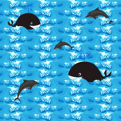 Seamless pattern - whales and dolphins in the sea