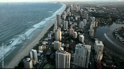 Aerial view of Gold Coast in Sunset,Australia