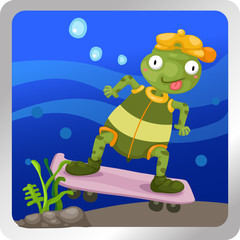 Illustration of a turtles play skateboarding