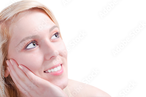 Beautiful woman admiring happy with her head relaxed on her hand