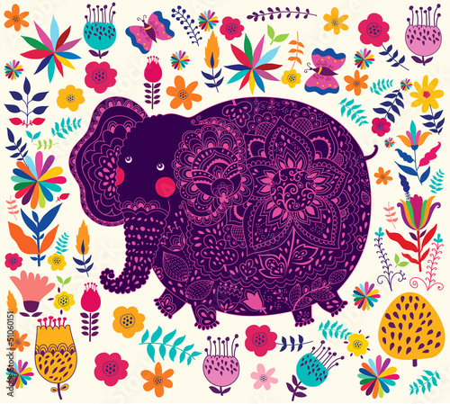 Holiday pattern with elephant