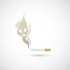 Cigarette and smoke icon vector
