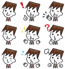 ビジネスマン 表情 手描き風