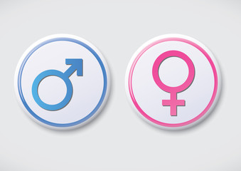 Male Female Symbol - Vector Button Badge
