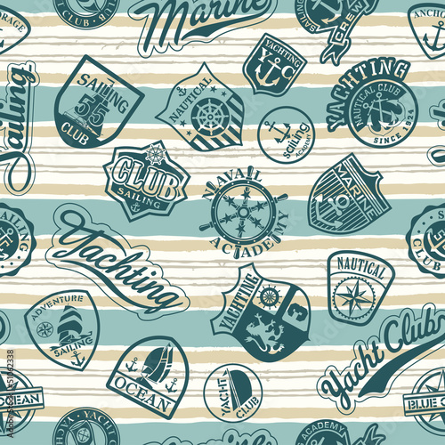 Nautical badges on a striped wallpaper - Vector seamless pattern