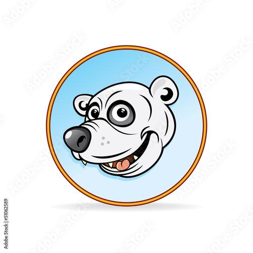 Cartoon Illustration of a Polar Bear Head.