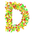 The letter D is made up of children's blocks