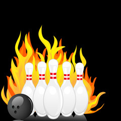 vector illustration of bowling pin with ball with fire