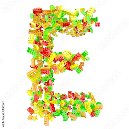 The letter E is made up of children's blocks