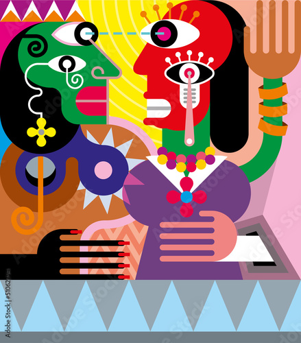 Woman and man abstract vector illustration