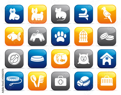 Pets care icon set on buttons