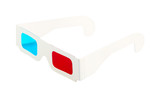 Red-and-blue disposable glasses