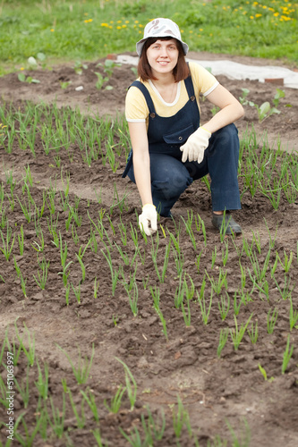 woman  working at  onion plant
