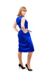 Full length of  sensual woman in blue dress