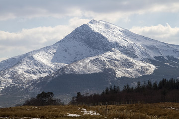 View of Moel Hebog near Beddgelert in Snowdonia North Wales