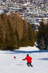 Skiers at mountains ski resort Bad Hofgastein Austria