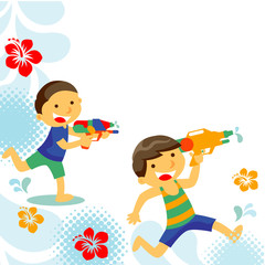 kids playing with a squirt gun