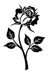 Black silhouette of rose with stem. Vector illustration.