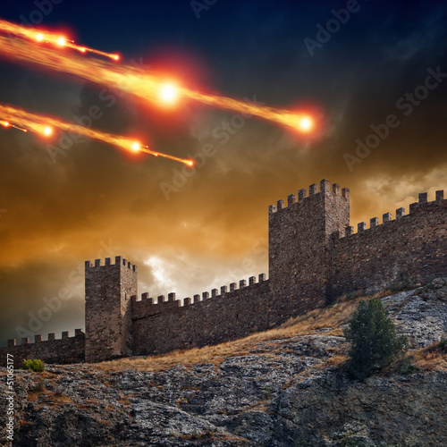 Old fortress, tower under attack