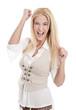 Erfolgreiche junge Frau - blond und isoliert