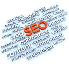 SEO und Website Begriffe - 3D Schrift / Typografie