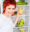 woman against the refrigerator