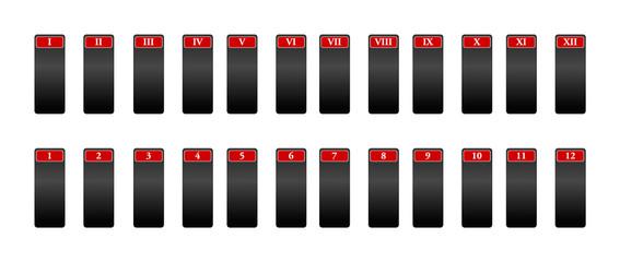 Icone per la numerazione con numeri romani