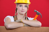 woman holding a hammer
