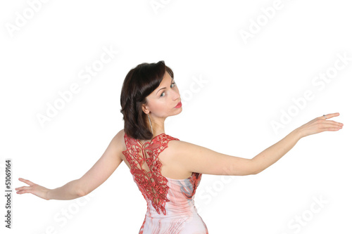 Portrait of  beautiful brunette with raised open hands