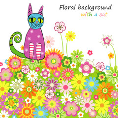 Card with a cat on a flower meadow