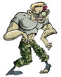 Zombie soldier  cartoon illustration isolated on white