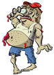 Red neck zombie cartoon with big belly