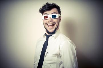 funny businessman with 3d eyewear