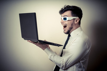 businessman with 3d eyewear watching laptop