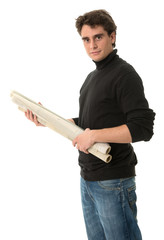 Young man with roll of blueprints