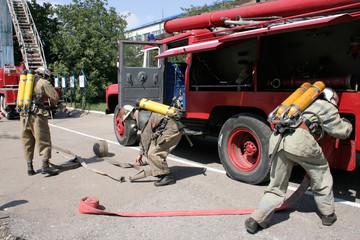 fireman wearing a gas mask
