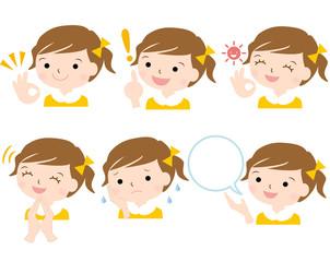 女の子 女児 様々な表情