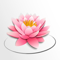 Pink lotus flower. Paper cutout