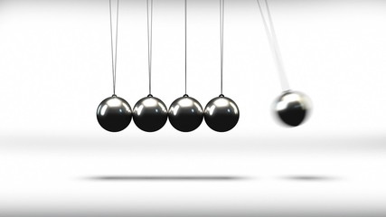 Newton's cradle metal balls striking in seamless loop