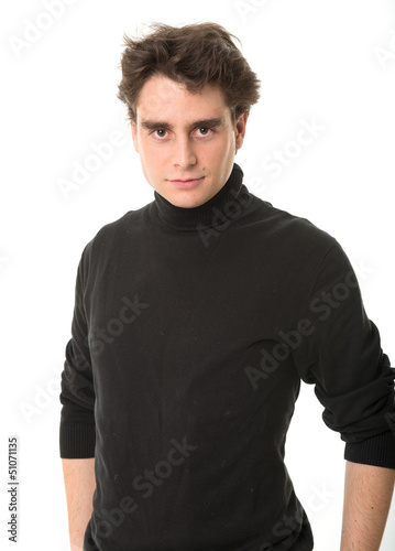 Young man in black
