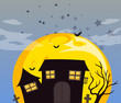 A haunted house and the bright full moon