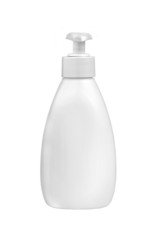 White plastic bottle for liquid soap with dispenser pump